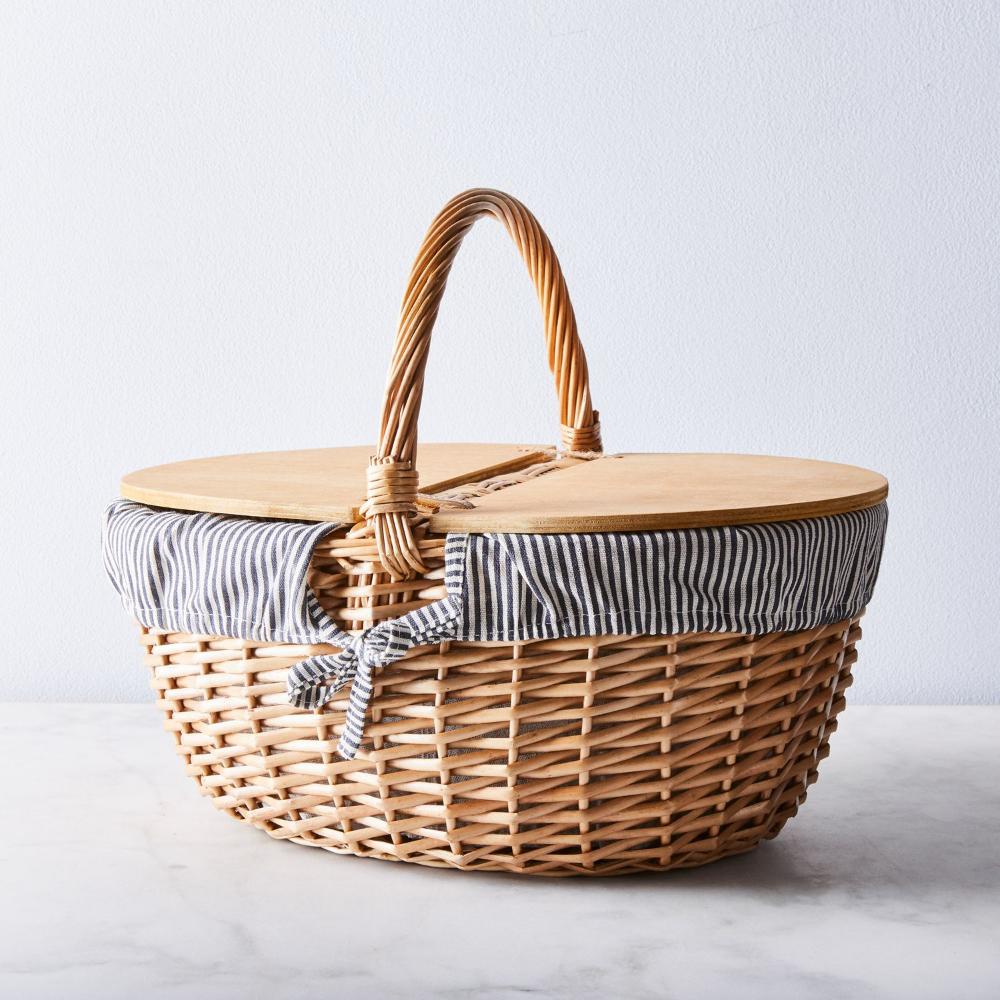 Blue White Stripe Picnic Basket In 2020 Picnic Basket Picnic Vintage Picnic Basket