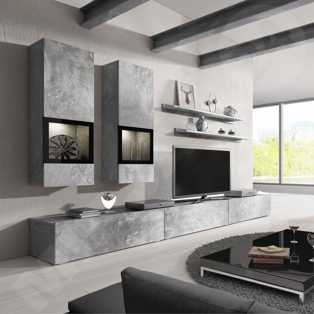 Baros Grey Concrete Modern Entertainment Center Tv Stands Wall