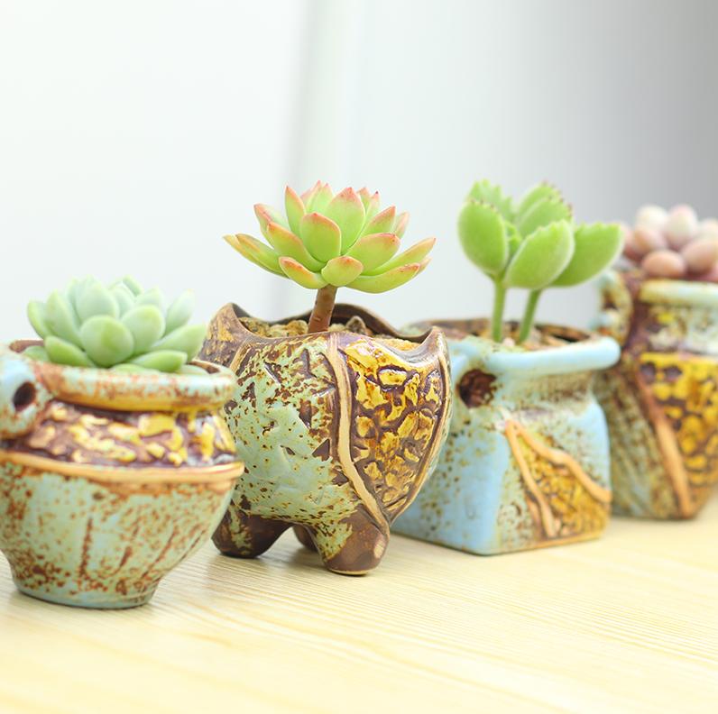 Set of 4/Mini Ceramic Pot/Ceramic Planter/Succulent Pot