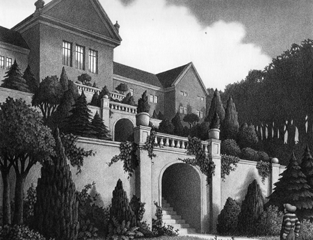 """Chris Van Allsburg - from the book """"The Garden of Abdul Gasazi"""" - (4) Alan searches for Fritz everywhere and finally comes across some dog tracks which lead to the great and imposing house belonging to this mysterious Abdul Gasazi."""