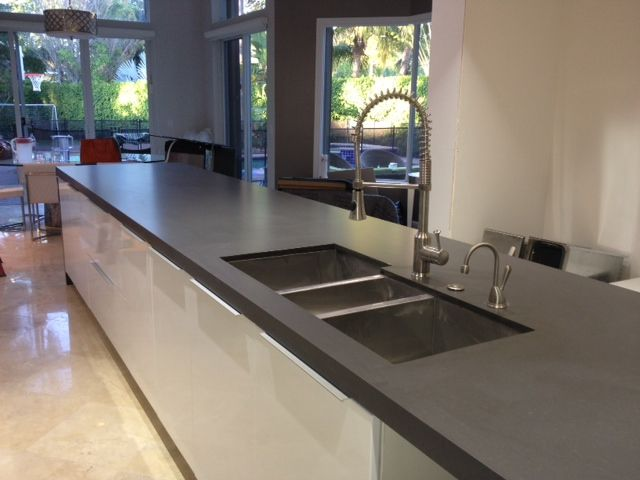 Maui Brushed Grey Quartz Countertop  Kitchen installation, Quartz countertops, Kitchen