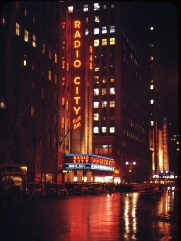 Photographic Print: 1945: Radio City Music Hall Lit Up at Night, New York, Ny by Andreas Feininger : 12x9in