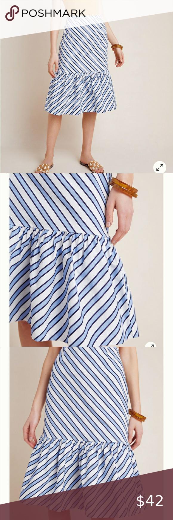 NEW Anthropologie Maeve Ryanne Flounced Midi Skirt