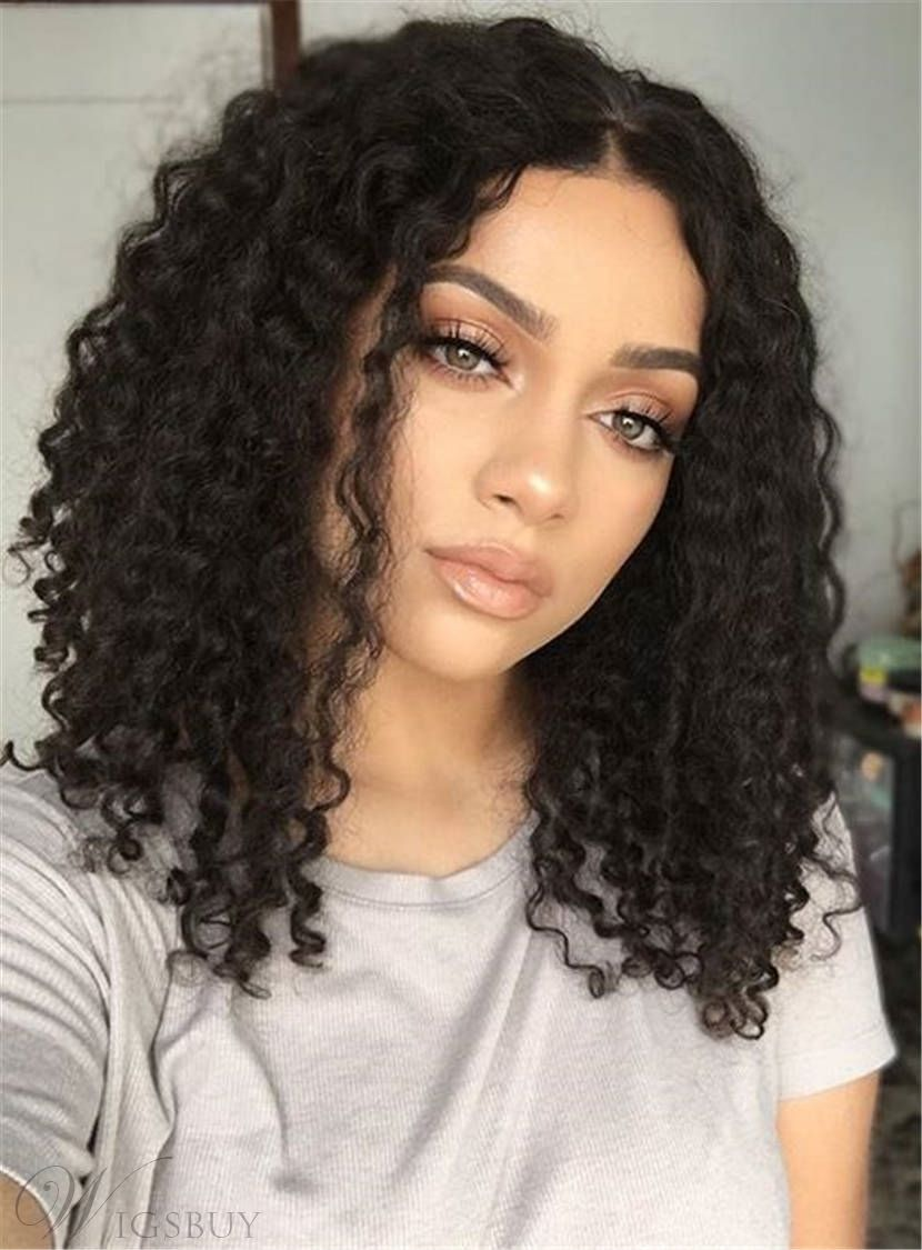 Center Part Kinky Curly Medium Synthetic Hair Bob For Round Face Lace Front  Cap African American