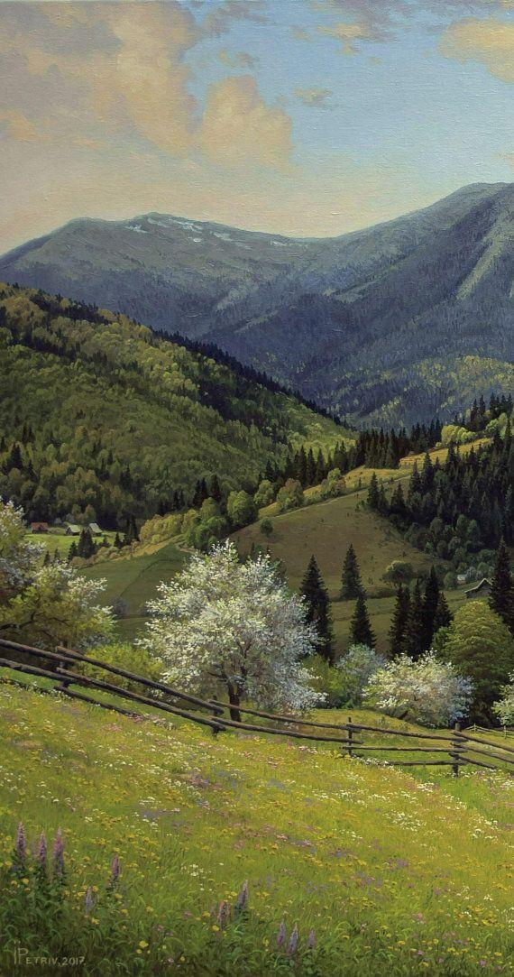 Spring Mountain Landscape Oil Painting Realism Oil Painting Landscape Paintings Mountain Landscape Landscape