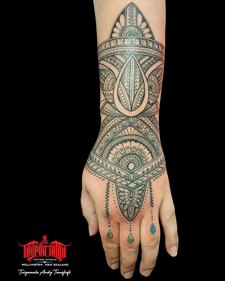 Front view henna mandala hand forearm piece with a