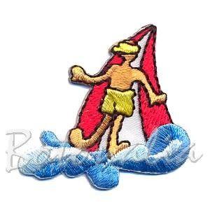Pegatina Termoadhesiva con un deportista practicando windsurf, que es deporte olímpico. Para personalizar ropa y complementos, o para decorar albumes de scrapbooking.