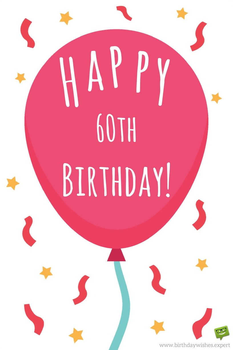 Happy 60th Birthday Quotes: Happy-60th-birthday-wish-on-image-with-red-balloon-ribbons