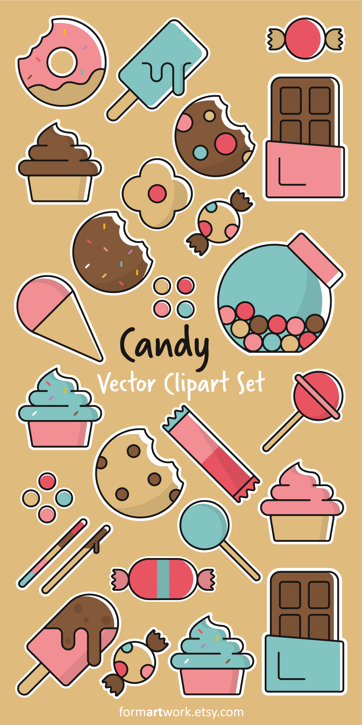 Cliparts Küche Essen Candy Vector Clipart Commercial Use Sweets Clip Art Set Candy