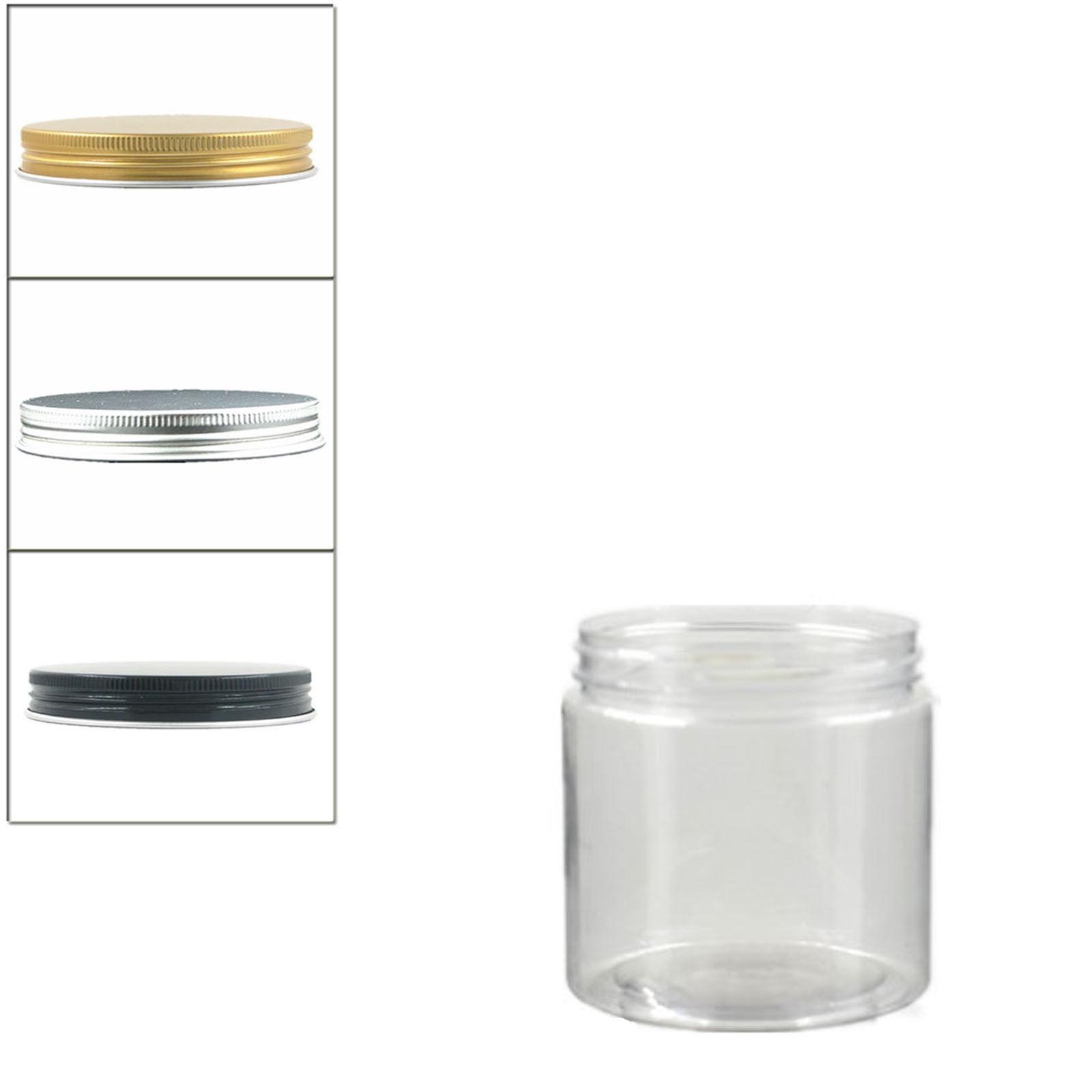 4xround Clear Plastic Pet Jars Container 200ml With Aluminium