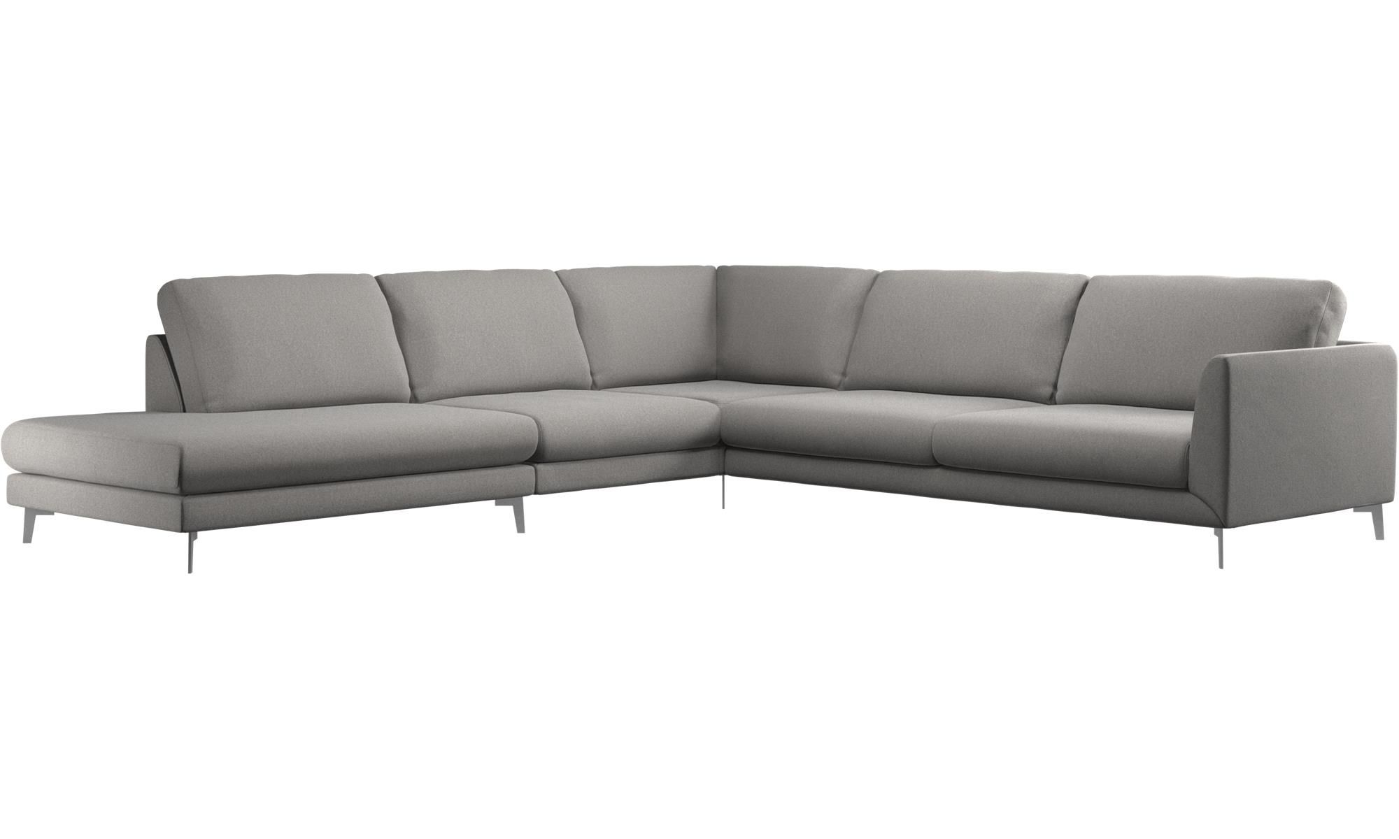 Sofas With Open End   Fargo Corner Sofa With Lounging Unit   Grey   Fabric