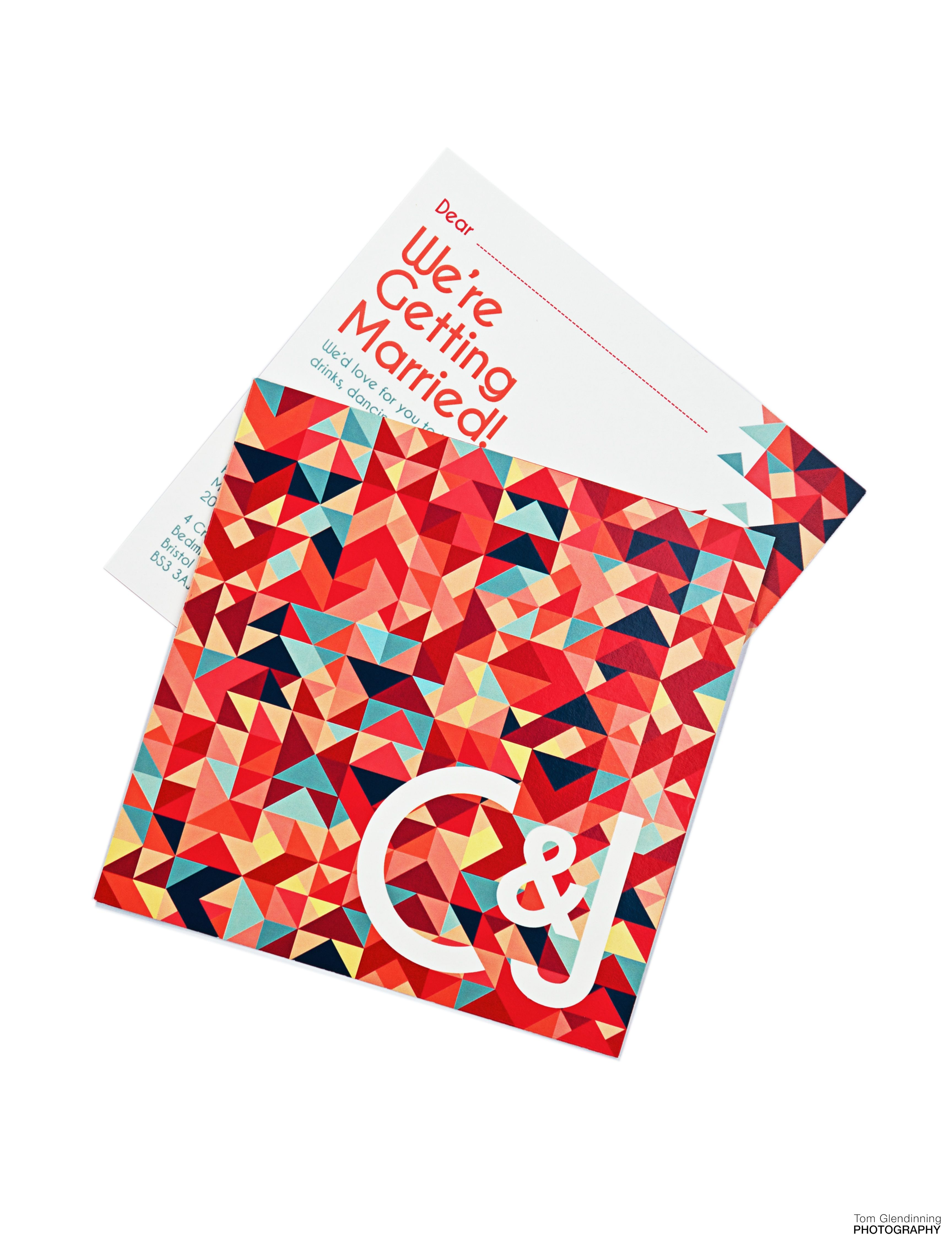 A colourful, contemporary invitation printed for summer 2014 wedding ...