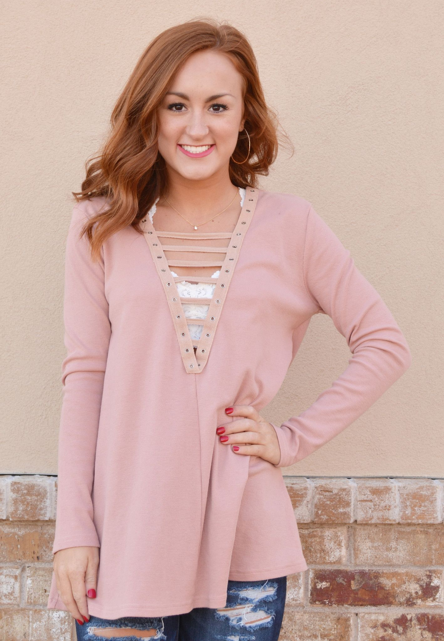 all laced up top-pink