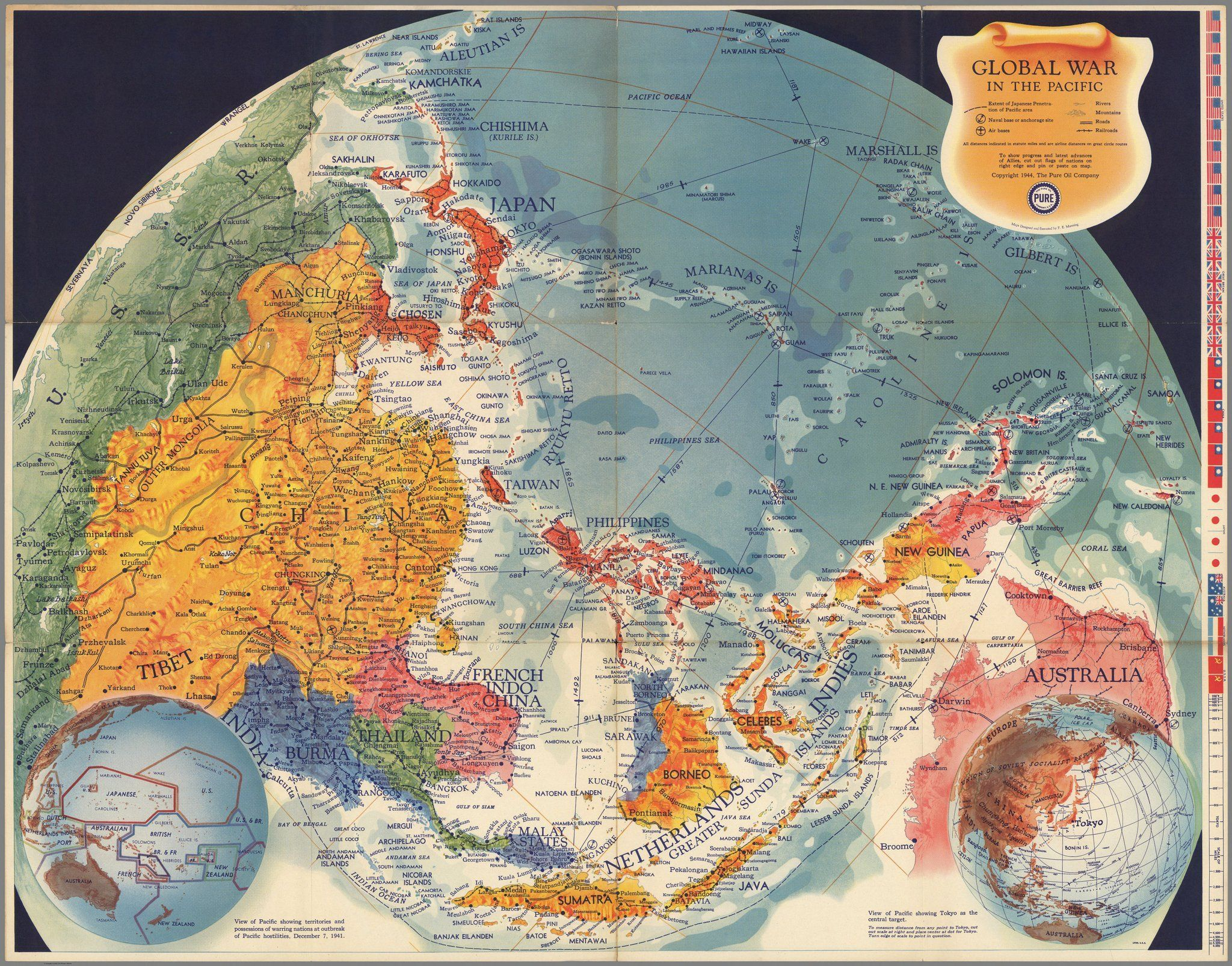 Global War in the Pacific (1944) maps Wwii maps, Poster