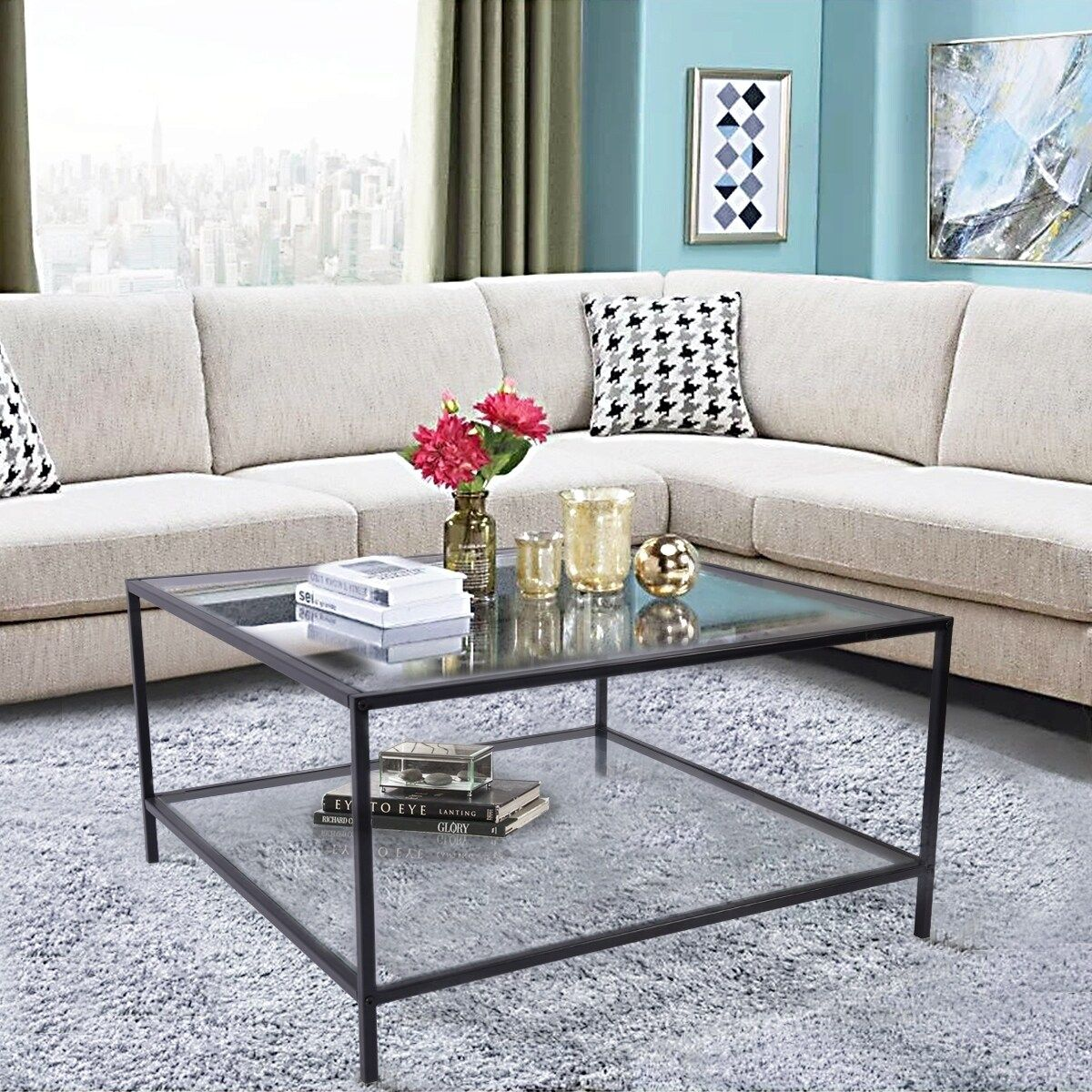 Furniture r square glass table top coffee table clear in