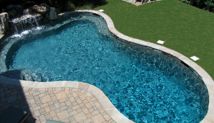 500 Sq Ft Pool With Moss Rock Waterfall And Random Tennessee Stone Coping And Quartzite Stone Tile This Pool Waterfall Small Inground Pool Backyard Remodel