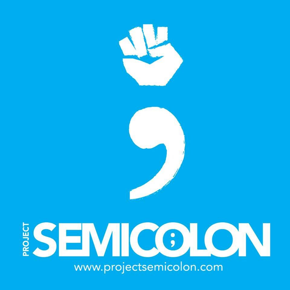 Project Semicolon logo with a fist and a comma together to form a semicolon