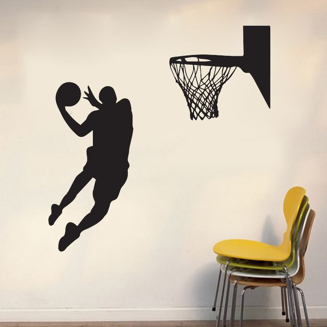 New! Cool Basketball Sport Theme Wall Sticker for Boys Living Room Home Decor Waterproof PVC ...