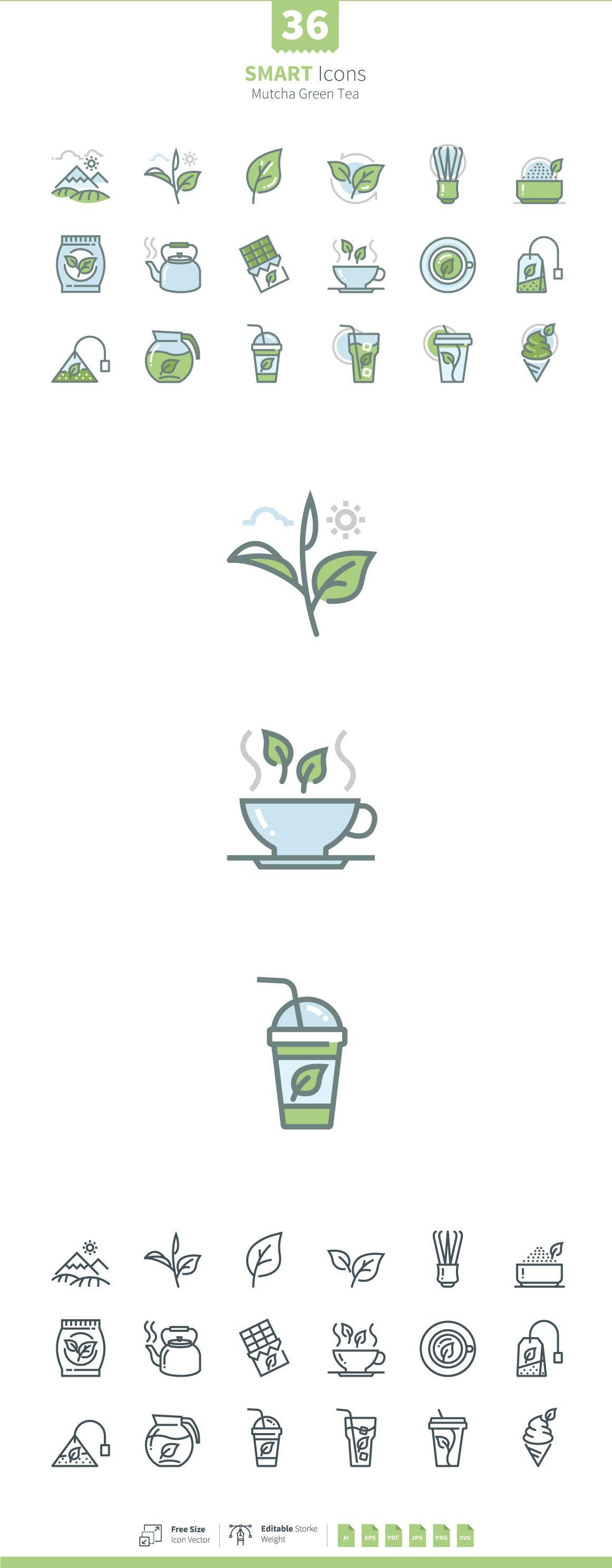 Set of Matcha Green Tea Symbols by korawan.m on