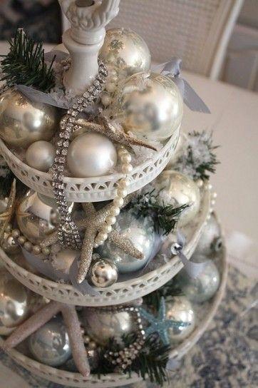 Centrotavola Natalizio Bianco E Argento.Centrotavola Natalizio Christmas Decor Ideas
