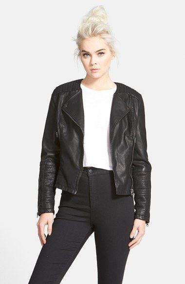 Topshop Faux Leather Biker Jacket Nordstrom Faux Leather Biker Jacket Vegan Leather Jacket Trendy Clothes For Women