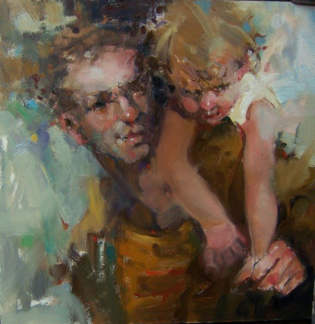 """""""When you lose someone it can be hard to take / The pain that you feel when your heart has to break... from """"Broad Shoulders"""" Impressionistic Oil Figures/Portraits/Father and Child, painting by artist Kim Roberti -  http://mothergrievinglossofchild.blogspot.com/2016/06/blessed-fathers-day-honoring-fathers.html of Mother Grieving Loss of Child - http://mothergrievinglossofchild.blogspot.com/"""