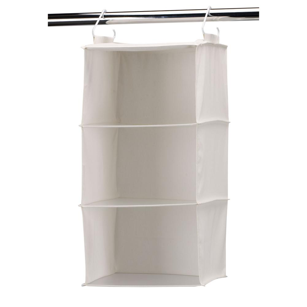 Household Essentials 3 Shelf Hanging Organizer With Plastic Shelves 311342 The Home Depot Hanging Closet Organizer Hanging Closet Plastic Shelves