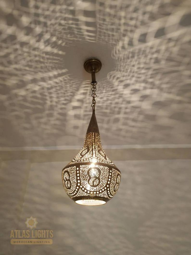 Pendentif Marocain Lumiere En Laiton Antique Vintage Lampe