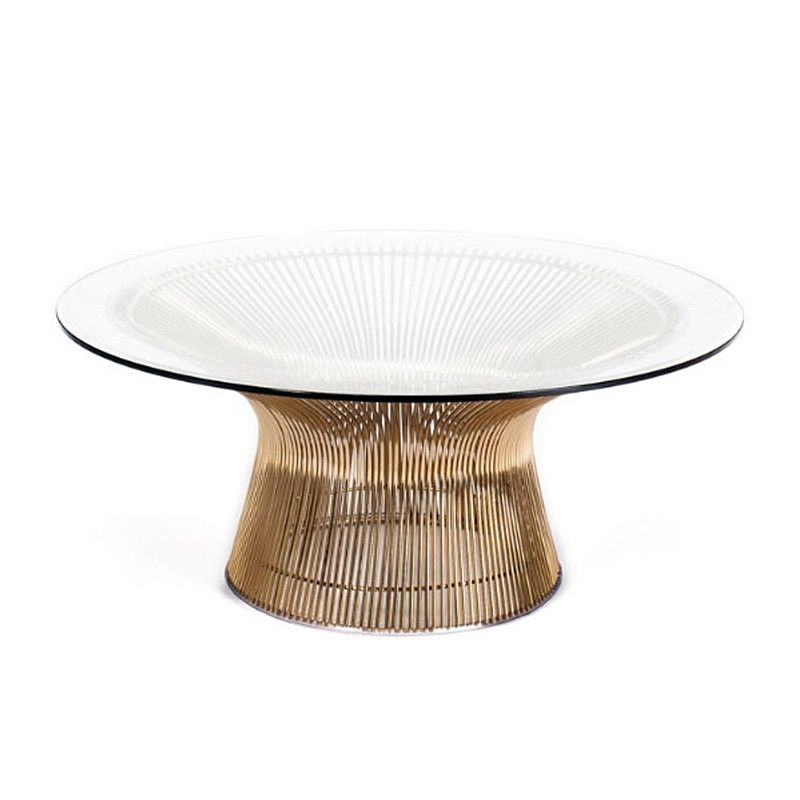 Sculptural Flared Rod Coffee Table Base In A Polished Gold With Beveled Edge Tempered Gl Top Real Looker We Love Pairing This Our Br