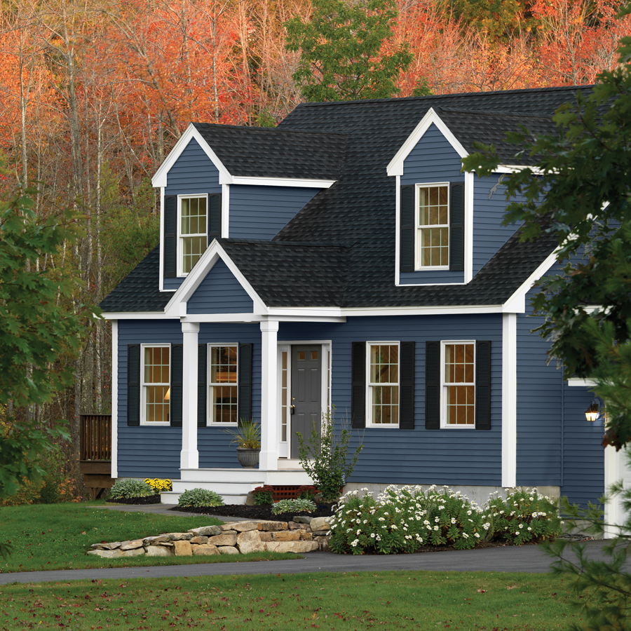 Best Dark Blue Siding Black Roof And Shutters White Trim And 640 x 480