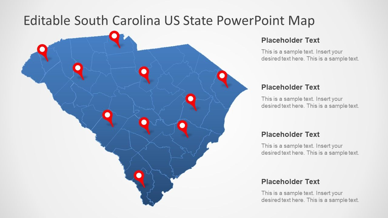 South Carolina US State PowerPoint Map | PowerPoint Maps | U.s. ...