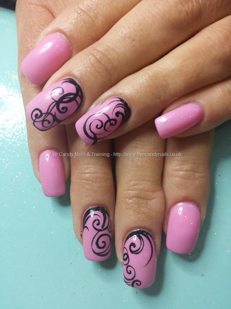 Gel 29 pink gel polish with freehand nail art | Nails ...