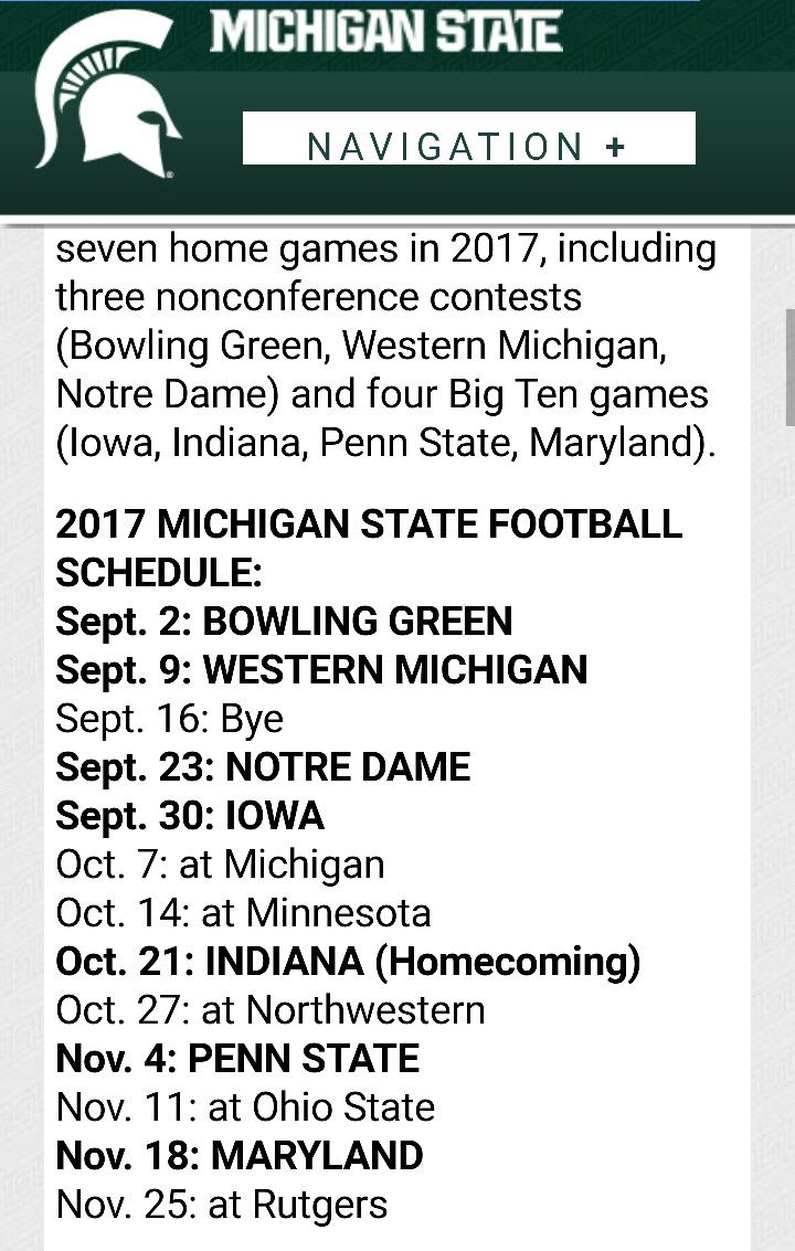 football schedule 2017 . | spartan nation | pinterest | msu
