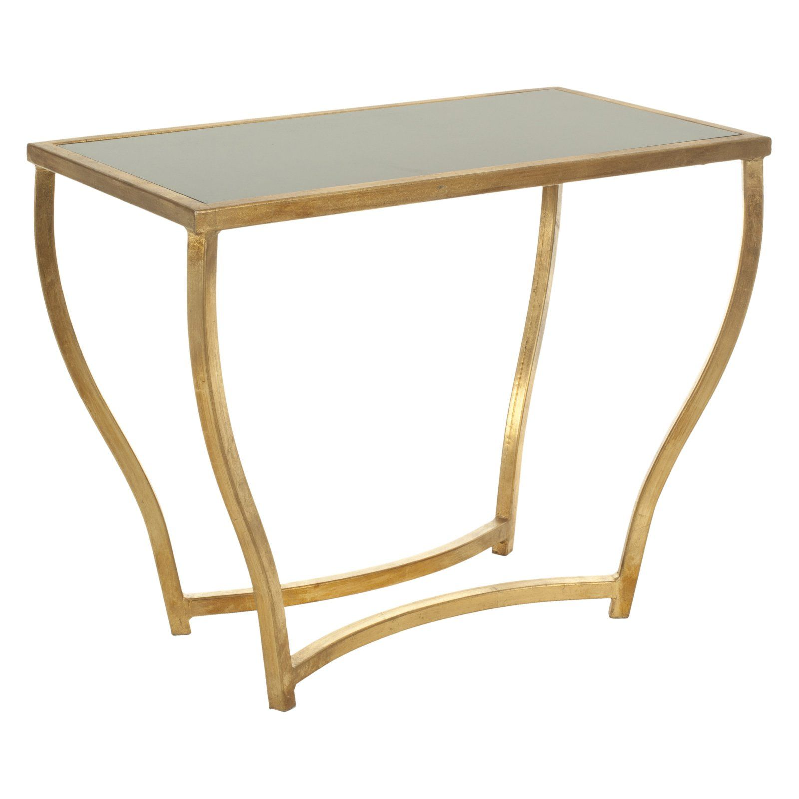 Accent Rex Meubles Safavieh Rex Glass Top Gold Foil Accent Table Black And Gold In