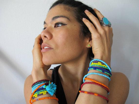 Desert Rainbow Beaded Wrap Bracelet Necklace, Seed Beads, Orange Red Turquoise Blue Yellow, Boho Hippie, Handmade Vintage Unisex Beadwork on Etsy, $48.00