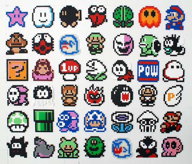 Super Mario bead sprites | DIY | Hama beads patterns, Perler