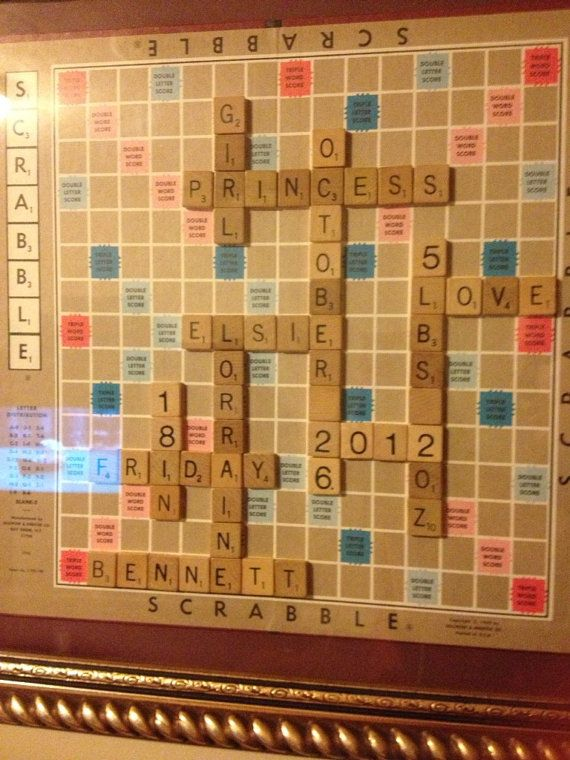 Personalized Scrabble Board Wall Art Framed Picture by OJoyOFudge – Scrabble Baby Announcement