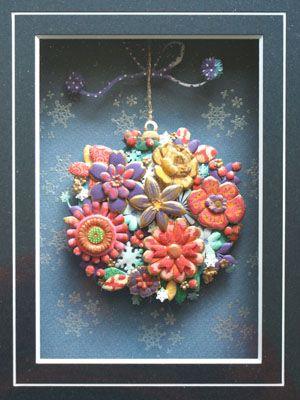 日本製 くす玉?雪と花のクリスマスのカードです。made by me