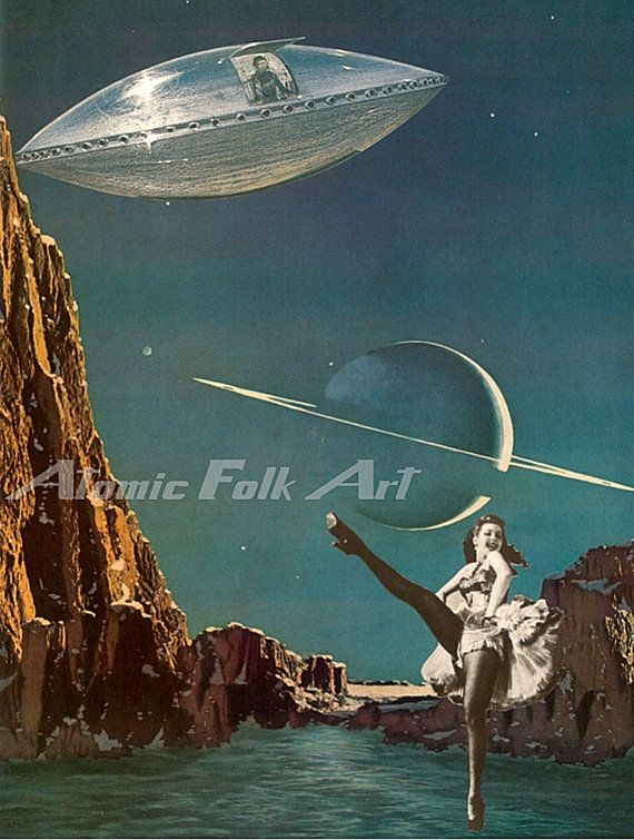 Planet pin up surreal art sci fi collage fantasy image gallery wall art print unique decor space ufo