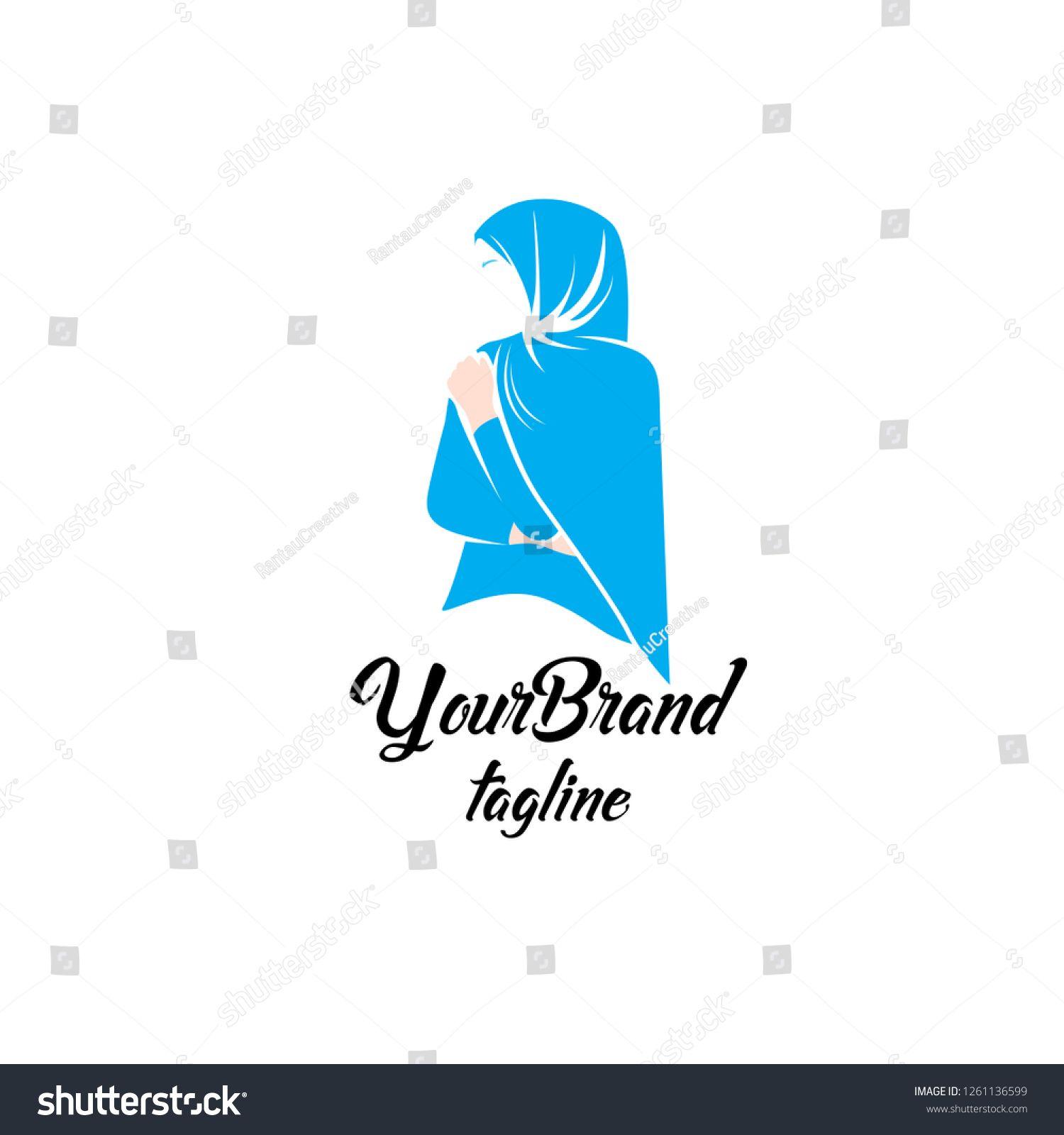 Image vectorielle de stock de Feminine Fashion Hijab Logo Template