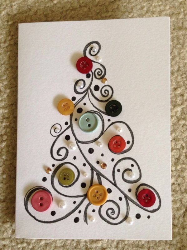 Weihnachtskarte Knöpfe malen Weihnachtsidee Weihnachten - #die #het #K ... #weihnachtskartenbastelnmitkindern