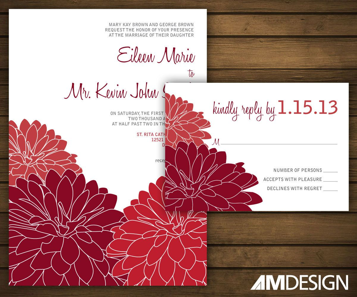 Red Dahlias Printable Wedding Invitation, Red Dahlia Wedding Invite ...