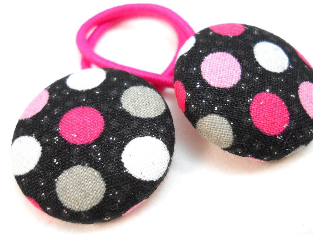 Pink Black Grey Hair Accessories for Teens Tweens Little Girls Ponytail  Holder Polka Dots Pony Tail. Pink Black Grey Hair Accessories for Teens Tweens Little Girls