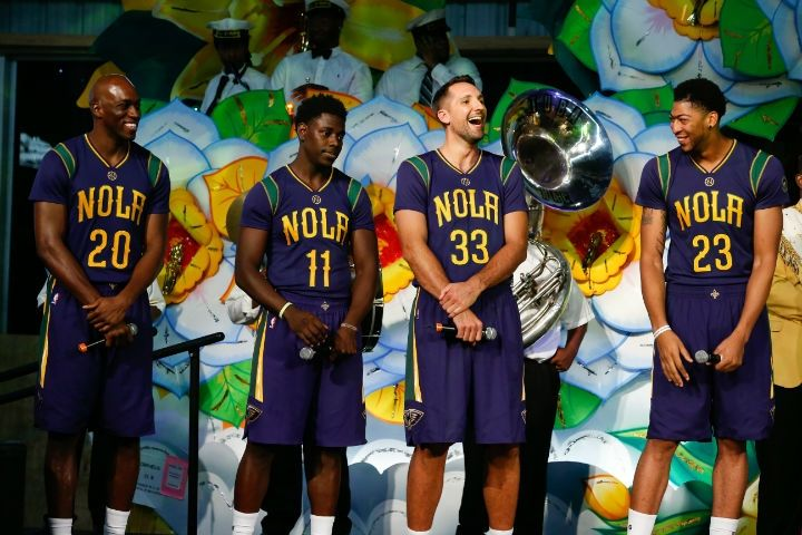 New Orleans Pelicans Players Celebrate Mardi Gras New