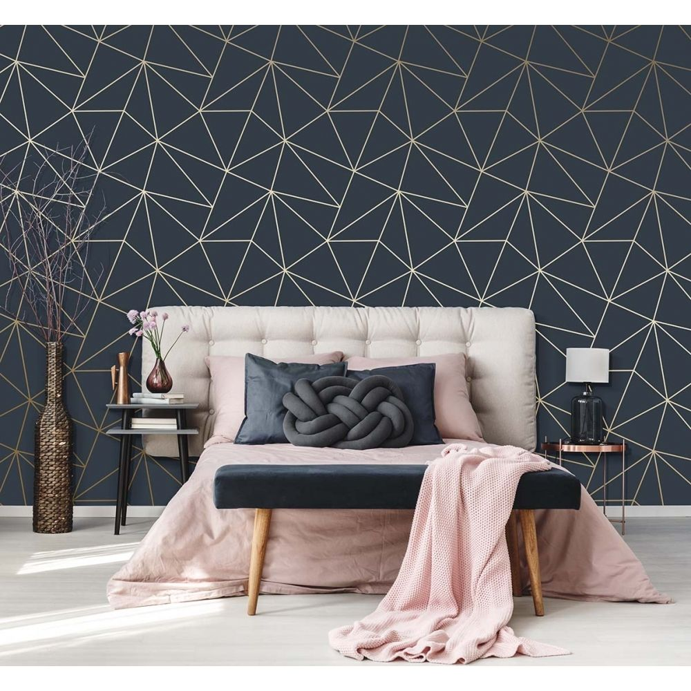 I Love Wallpaper Zara Shimmer Metallic Wallpaper Navy