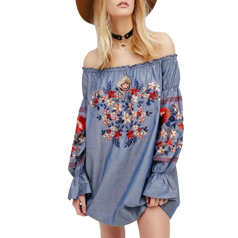 411bf5e647399 Gender  Women Decoration  Embroidery Style  Bohemian Pattern Type  Solid  Neckline  Slash neck Silhouette  Straight Dresses Length  Above Knee