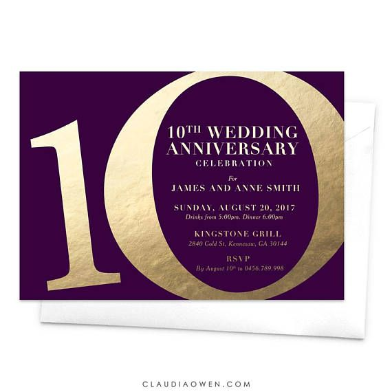 10th Wedding Anniversary Party Ideas: 10th Wedding Anniversary Party Invitation / Tenth