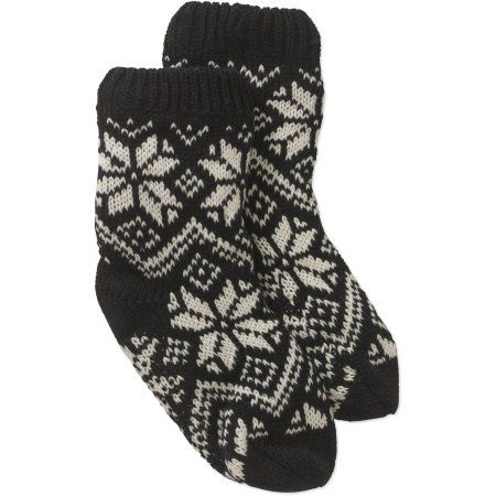 Ladies Snowflake Fairisle Chunky Slipper Sock with Faux Fur Lining, Women's, Size: 4-10, Multicolor