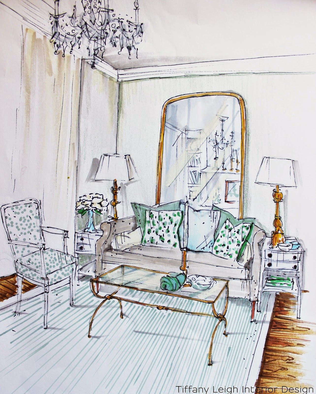 Pin By Divya Dubey On Drawing Living Room: Tiffany Leigh Interior Design: In My Sketchbook: Living