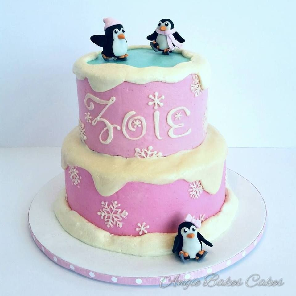 Ice Skating Penguins Cake For Ice Skating Party Birthday Cakes For
